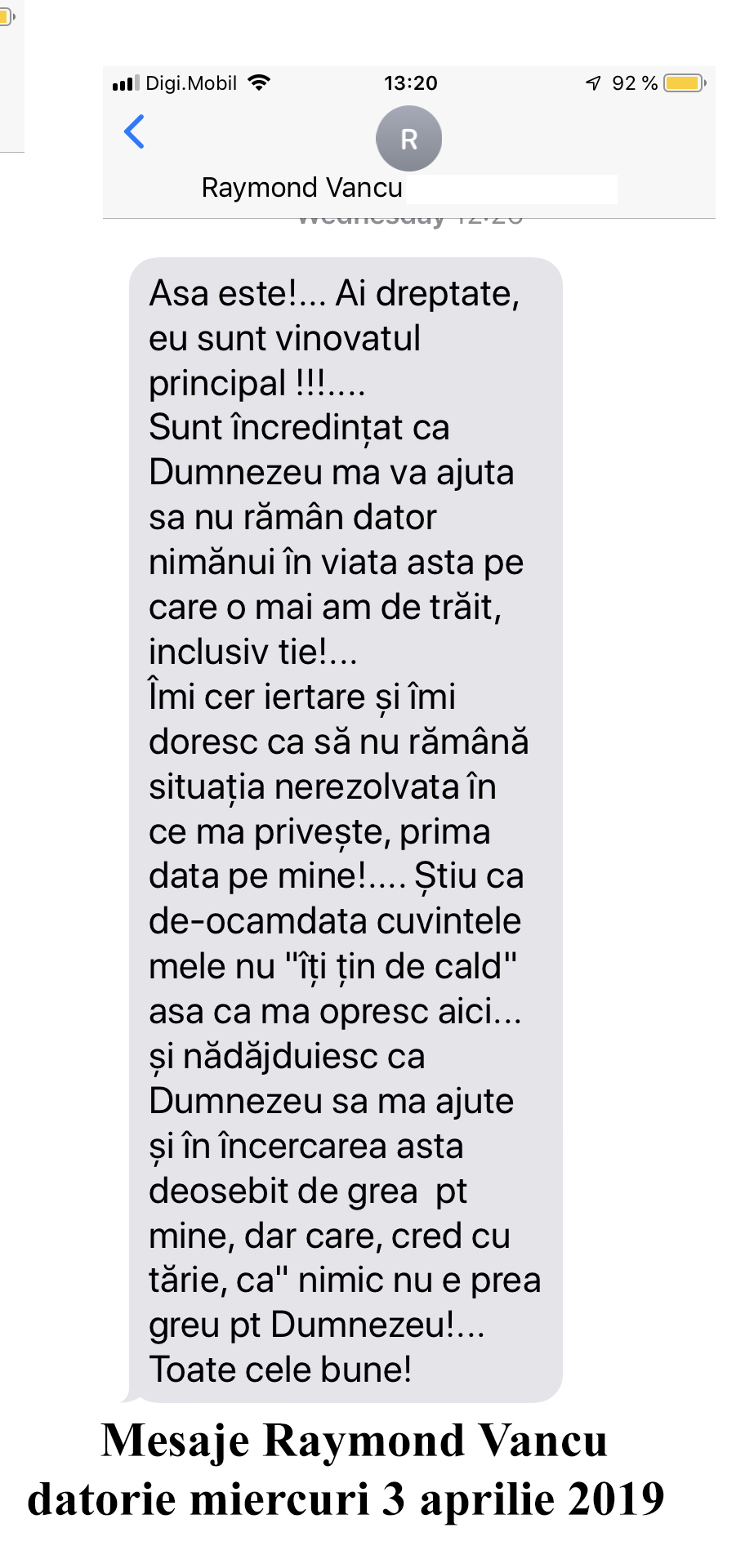 Mesaje Raymond Vancu datorie miercuri 3 aprilie 2019
