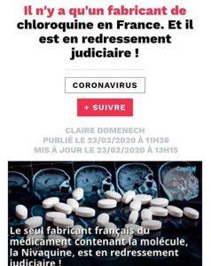 Il n'y a qu'un fabricant de chloroquine en France. Et il est en redressement judiciaire !