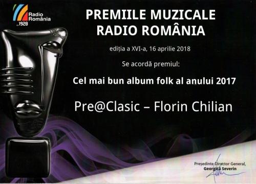 Florin Chilian - Albumul anului 2018 - Premiile Radio Romania - Diploma Cel mai bun album folk -Pre@Clasic, Florin Chilian Saveica de la Sarica Niculitel Muzică: Florin Chilian Versuri: Florin Chilian